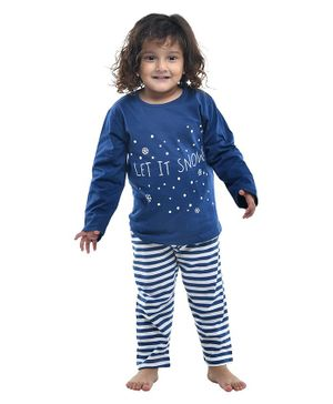 Funkrafts Full Sleeves Striped Night Suit - Navy Blue
