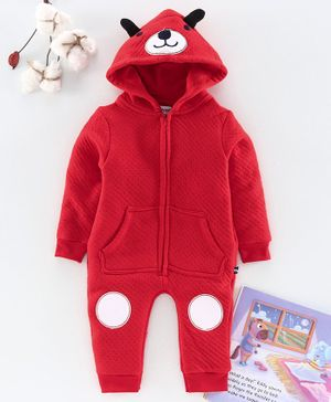 Mom's Love Full Sleeves Winter Wear Romper With 3D Ears Hood - Red