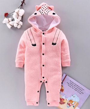 Mom's Love Full Sleeves Winter Wear Romper With 3D Ears Hood - Pink