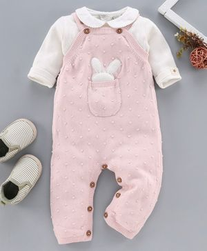 Wildlinggs Full Length Dungaree Style Romper With Inner Onesie Bunny Design - Pink