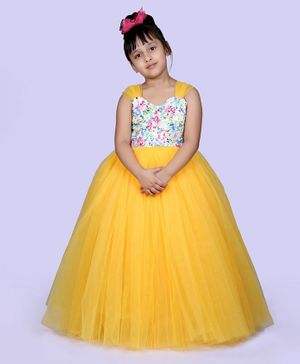 Indian Tutu Sleeveless Flowers & Sequin Detailed Yoke Gown - Yellow