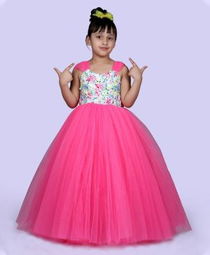 Indian Tutu Sleeveless Sequin Yoke Tulle Flared Gown - Pink