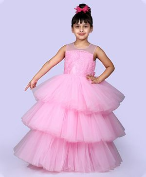 Indian Tutu Sleeveless Sequined Floral Work Layered Gown - Pink
