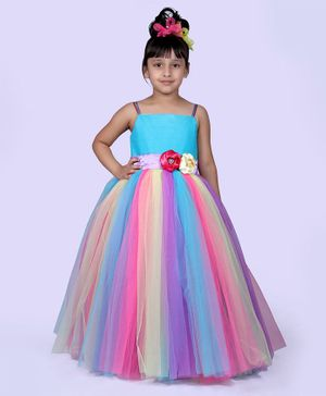 Indian Tutu Sleeveless Flower Detailed Waistline Contrast Shaded Gown - Multi Color