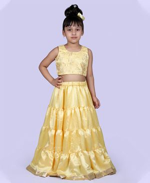 Indian Tutu Sleeveless Floral Work Top With Layered Skirt - Golden