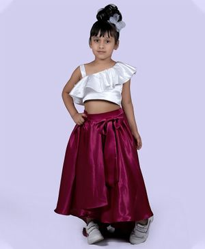 Indian Tutu Sleeveless Layered One Shoulder Top With Skirt - Maroon