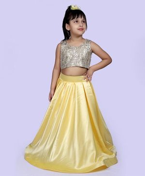 Indian Tutu Sleeveless Sequined Top With Skirt - Yellow
