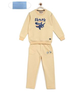 Li'L tomatoes Full Sleeves Shark Print Sweatshirt & Bottom With Free 3-Ply Face Mask - Yellow