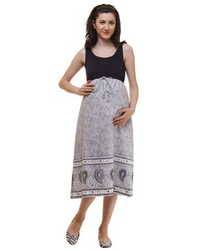 Preggear Maternity Sleeveless Motif Print Dress - Grey