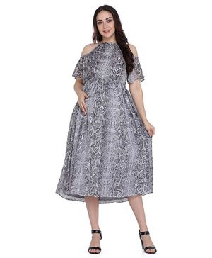 Preggear Half Sleeves Snakeskin Print Maternity Dress - Grey