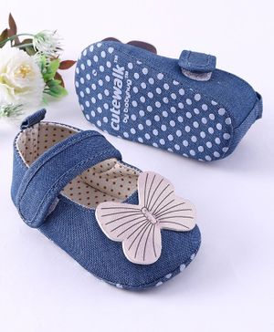 Cute Walk by Babyhug Booties Butterfly Applique - Blue
