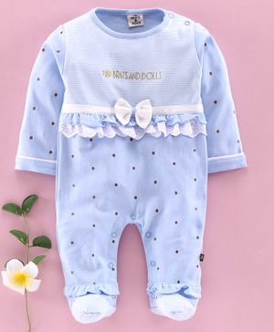 Brats and Dolls Full Sleeves Footed Romper Polka Dot Print - Blue