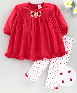 Babyhug Full Sleeves Frock with Dotted Leggings - Red White