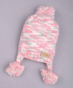The Original Knit Pom Pom Detailing Cap - Pink