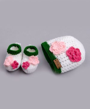 The Original Knit Floral Design Cap With Booties - White & Pink
