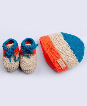 The Original Knit Striped Cap With Booties - Blue Beige & Orange