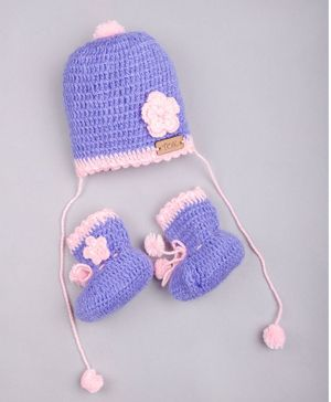 The Original Knit Flower Applique Cap With Booties - Lilac & Pink