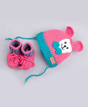 The Original Knit Bear Applique Cap With Booties - Pink