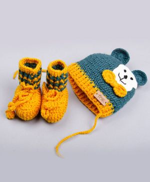 The Original Knit Bear Applique Cap With Booties - Mustard