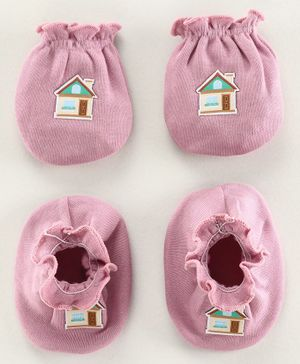 Ben Benny Mittens & Booties Set House Patch - Purple