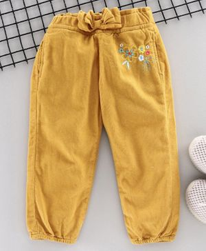 Olio Kids Full Length Corduroy Pant Floral Embroidery  - Yellow
