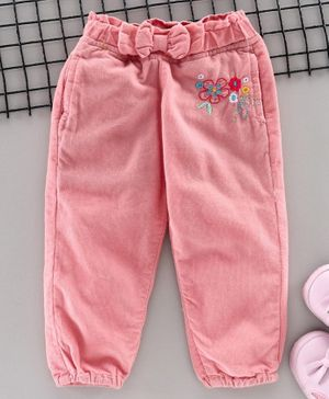 Olio Kids Full Length Corduroy Pant Floral Embroidery  - Pink