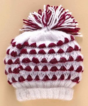 Knitting by Love Icelandic Knit Woolen Cap - Purple & White