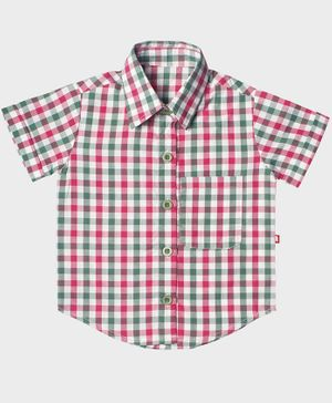 Nino Bambino Half Sleeves Organic Cotton Checked Shirt - Multi Color
