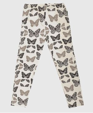Nino Bambino 100% Organic Cotton Butterfly Printed Full Length Legging - Cream