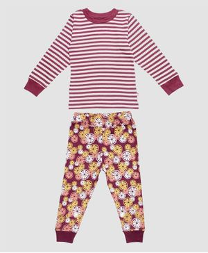 Nino Bambino 100% Organic Cotton Full Sleeves Striped T-Shirt With Pant Set  - Multi Color