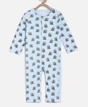 Aomi  Full Sleeved Train Print Romper - Blue