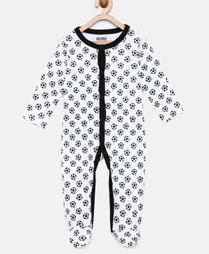 Aomi Basic Full Sleeves Ball Print Sleepsuits - Black & White