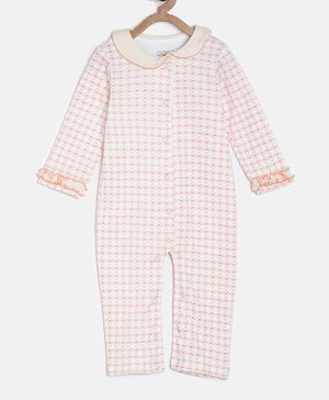 Aomi Full Sleeves Heart Print Romper - White & Pink