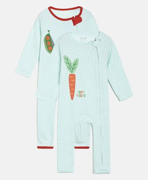 Aomi Pack Of 2 Full Sleeves Carrot Print Romper - Green
