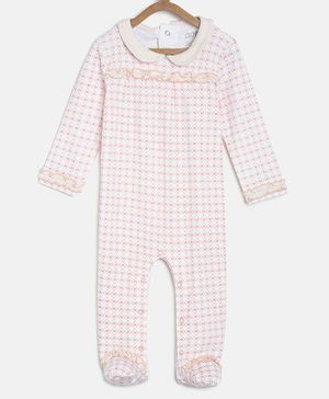 Aomi Full Sleeves Heart Print Sleepsuits - White & Peach