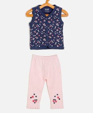 Aomi Sleeveless Flower Print Top With Leggings - Blue Pink