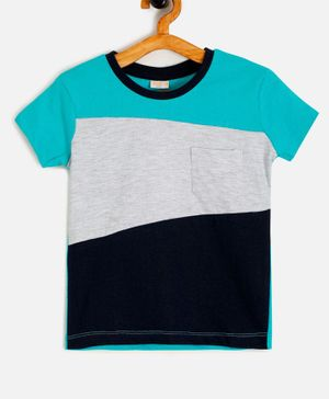 Aomi Color Block Half Sleeves Tee - Green