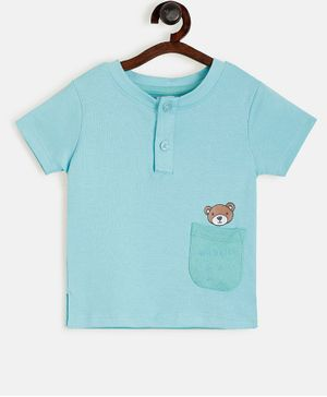 Aomi Pocket Half Sleeves Bear Print T-Shirt - Blue