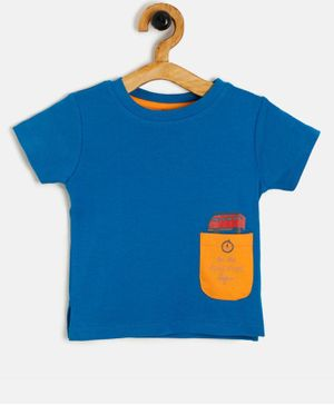 Aomi Pocket Half Sleeves Contrast Pocket Tee - Blue