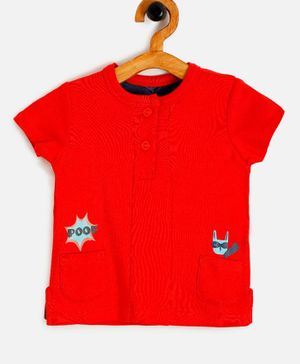 Aomi Cat Face Print Henley Short Sleeves Tee - Red