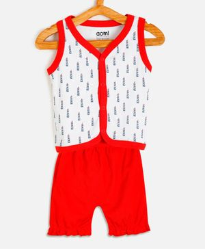 Aomi Printed Sleeveless Vest With Shorts - Red