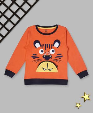 Tambourine Full Sleeves Tiger Face Print Detailing Sweatshirt - Orange