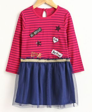 Tambourine Striped Full Sleeves Dress - Fuchsia