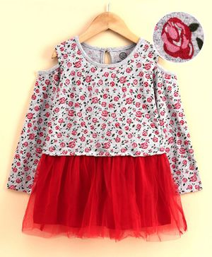 Tambourine Rose Flower Print Full Sleeves Dress - Red