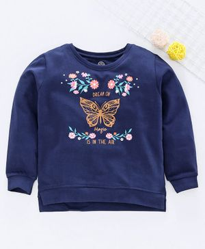 Tambourine Butterfly Print Full Sleeves Sweatshirt - Navy