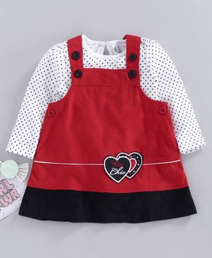 Tambourine Polka Dot Print Full Sleeves Tee With Dress - Red & White