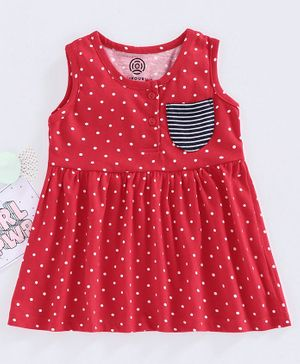 Tambourine Sleeveless Polka Dot Print Dress - Red