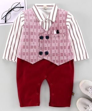 Brats and Dolls Full Sleeves Party Wear Romper with Attached Waist Coat - Red