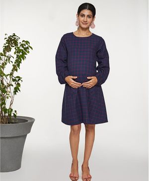 Mamaste Full Sleeves Plaid Pocket Dress - Dark Navy
