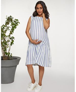 Mamaste Sleeveless Stripe Drop Waist Dress - White